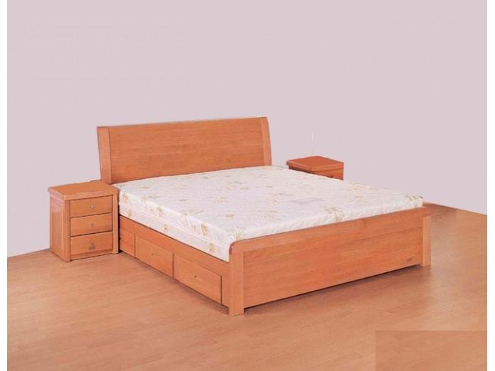 床 - 雙人木床-附櫃桶